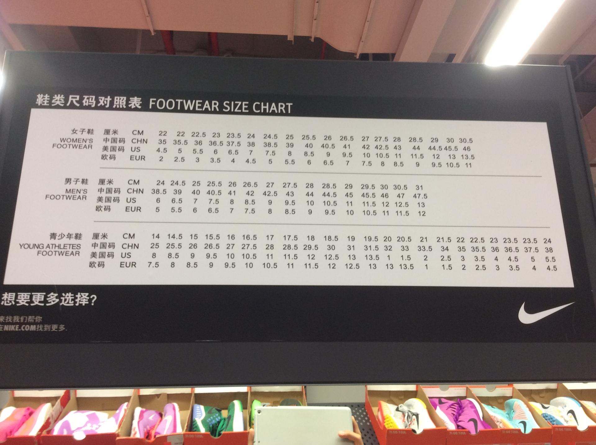 中国、香港で靴を買う時に役立つ靴のサイズ一覧。深センで偽物の